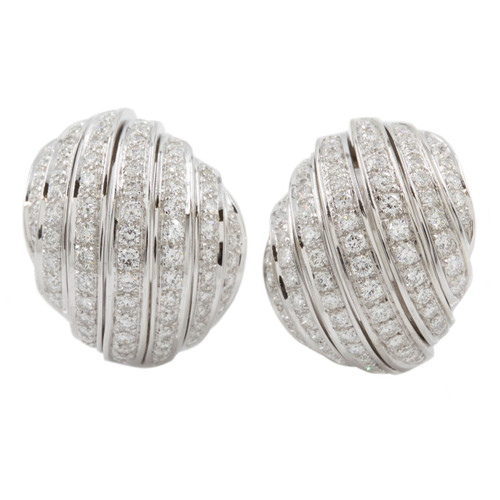 Pair of Dome Diamond Clip-On Earrings in 18k White Gold