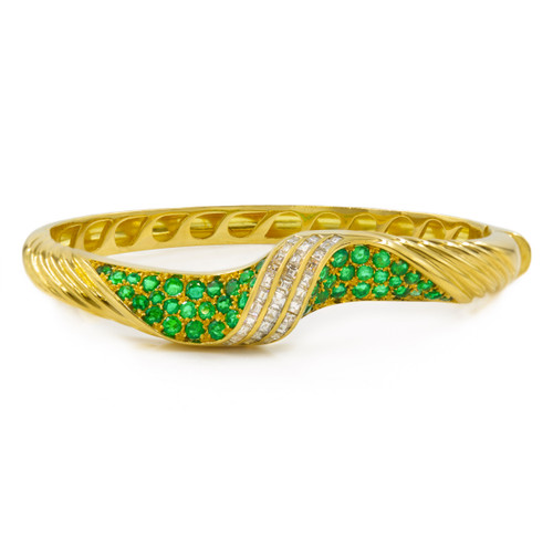 Swirling 18 Karat Gold, Emerald and Diamond Bracelet