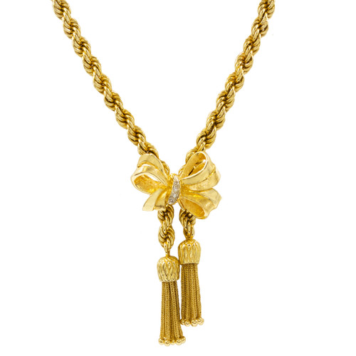 Estate 14k Gold Lariat Necklace with Bow & Tassels