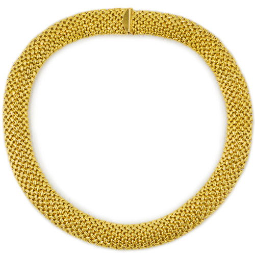 """Vintage Woven 18k Yellow Gold Necklace, 16"""""""