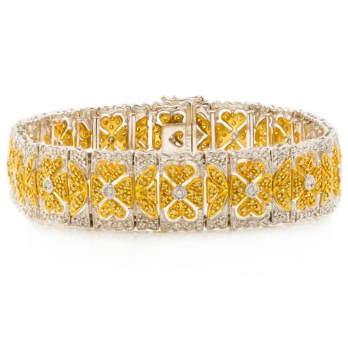 Estate 18k Gold Bangle Bracelet with 475 Diamonds