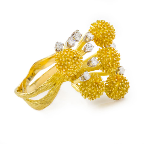 Modernist Canadian 18k Yellow Gold and Diamond Ring