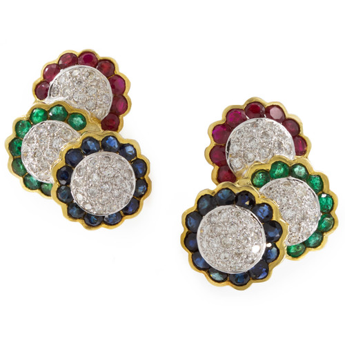 Vintage 14k Gold, Emerald, Ruby, Sapphire Earrings