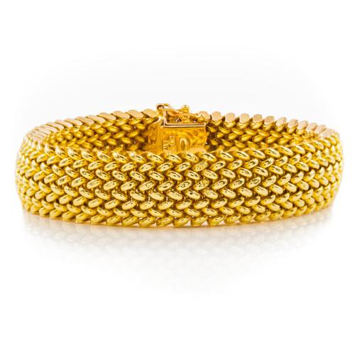14k Yellow Gold Flexible Woven Bracelet | Kitsinian Jewelers