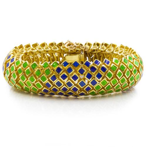 Retro 18k Gold Blue and Green Enameled Bracelet | circa 1960s