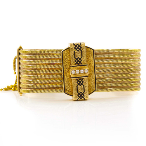 Victorian 14k Gold and Seed Pearl Slide-and-Tassel Bracelet