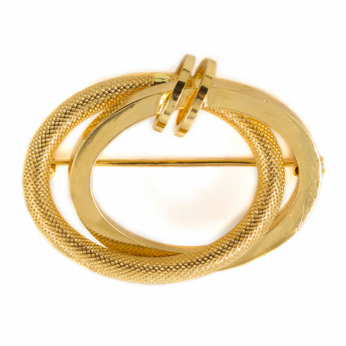 Vintage 18K Yellow Gold Double-Circle Brooch