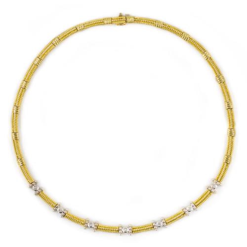 "Estate 14k Yellow Gold Diamond Link Choker Necklace, 15 1/2"" long"