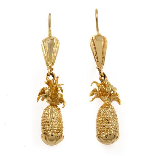 """Vintage 14k """"Pineapple"""" Earrings   13.1 grams"""