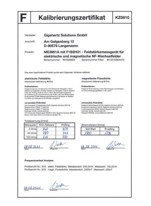 Calibration Certificate - ME3851A/ME3951A