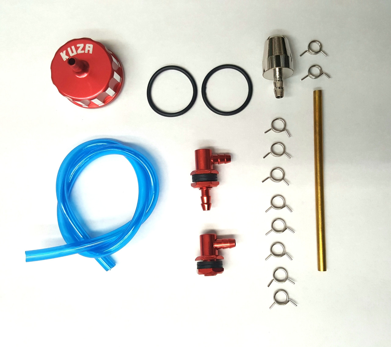 3 Line 1# Red Alloy cap kit (for FIJI & Cola bottle) Including CNC Brass L  Single & Double Barb vent