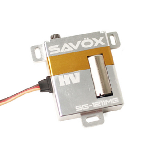 SAVSG1211MG   High Torque High Voltage Metal Case Digital Glider Servo, .15sec / 153.1oz  Features:  Metal Gear train for extended life and durability. Special design for glider applications. All aluminum case for secure mounting. Capable of 2S Operation Specifications:  Torque @ 6v - 8.0kg/111.1oz-in Torque @ 7.4v - 11.03kg/153.1oz-in Speed @ 6v - 0.18 sec/60 deg Speed @ 7.4v - 0.15 sec/60 deg Dimensions L x W x H (mm): 30.0 x 10.0 x 36.0 Weight: 29g