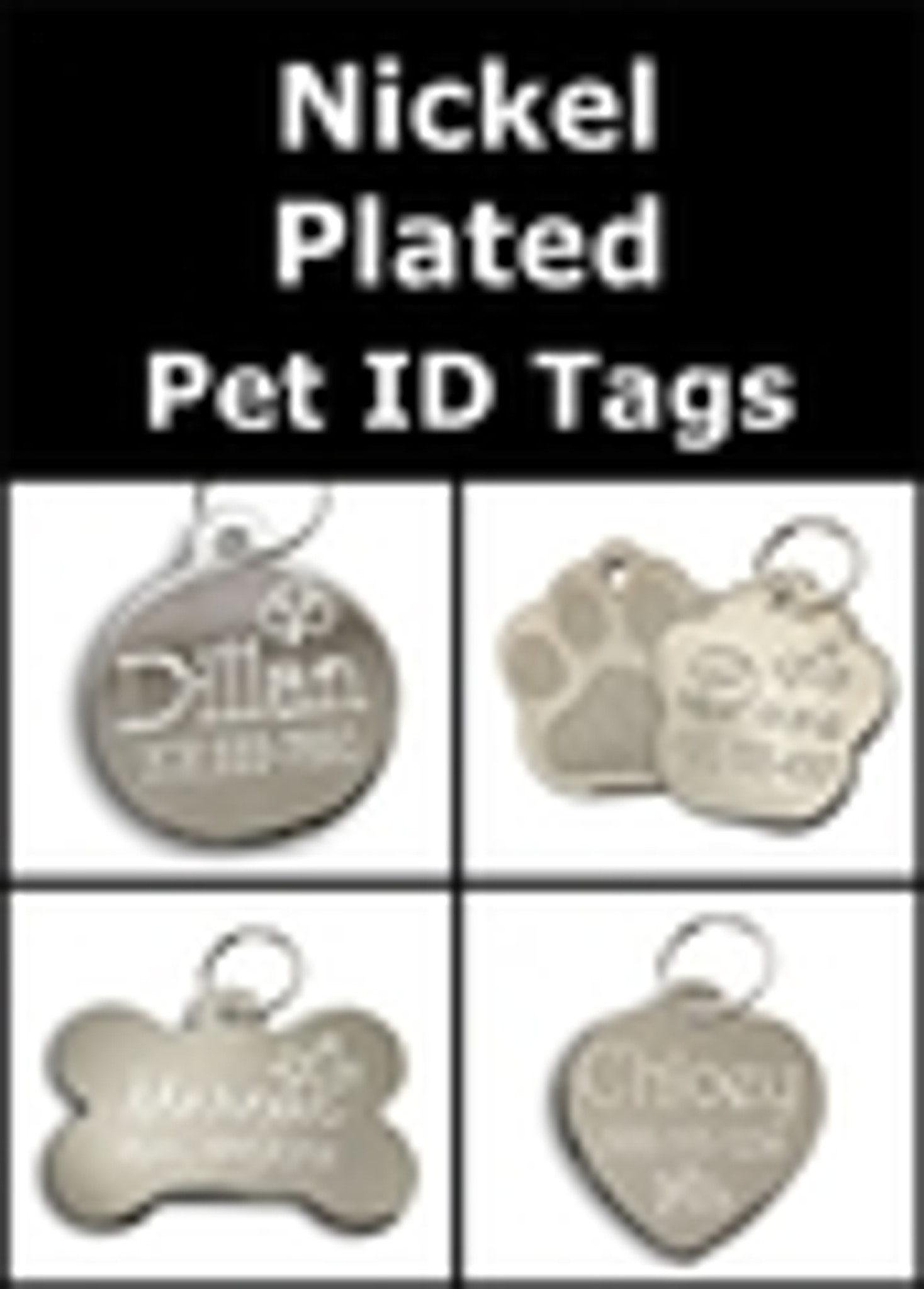 Silver Plated Nickel / Chrome Pet ID Tags