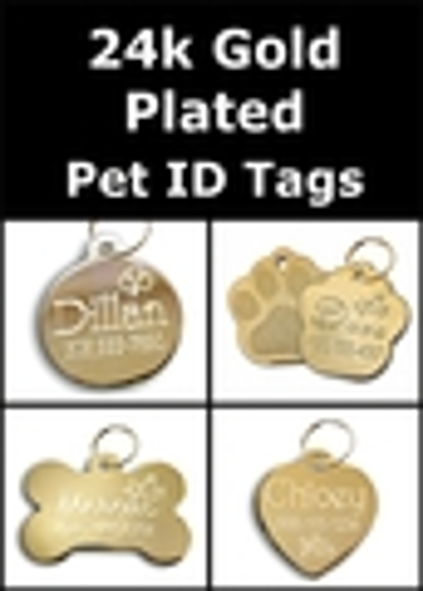 24k Gold Plated Pet ID Tags