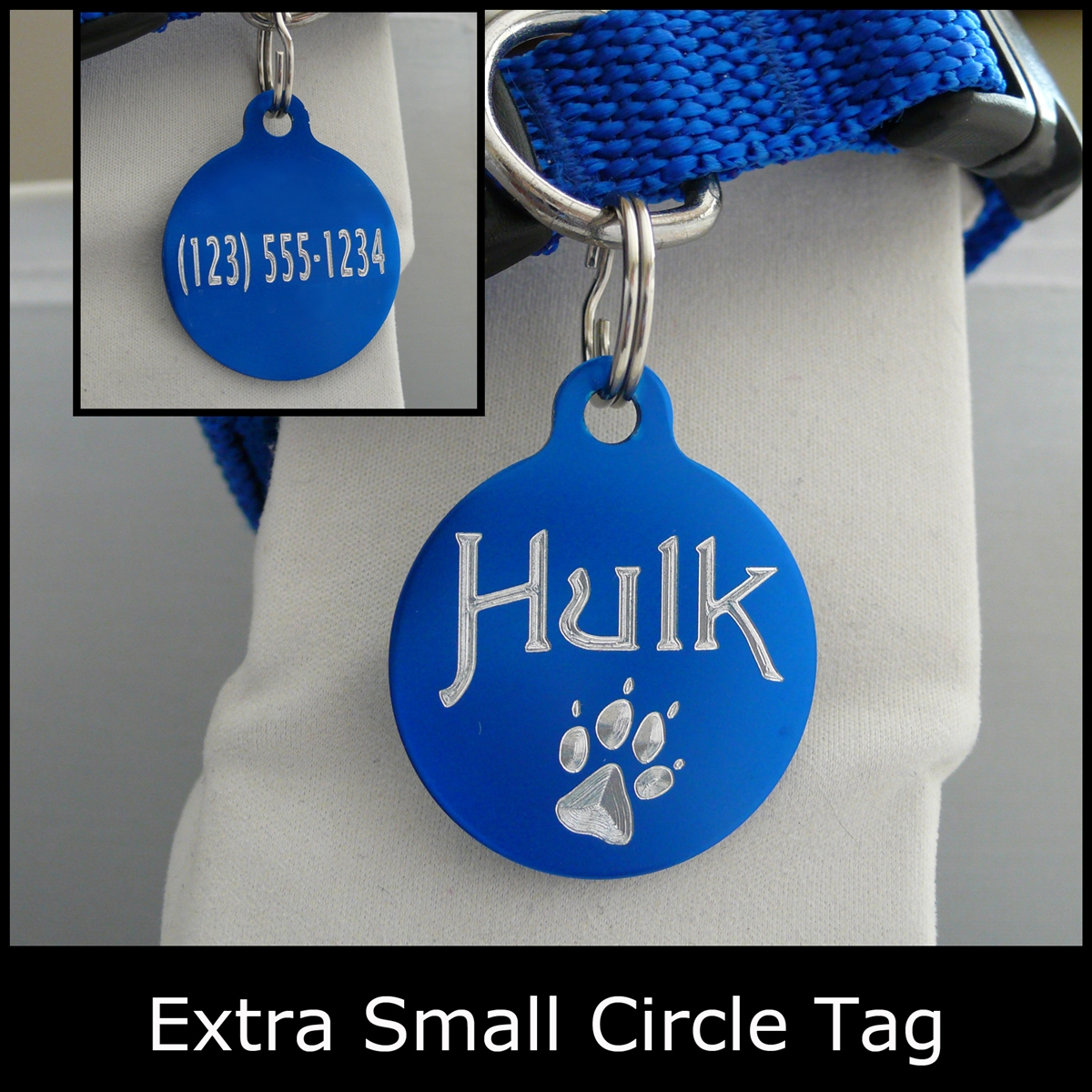 Engraved Anodized Aluminum, Extra Small Circle-Shaped Pet ID Tag-Quick Order