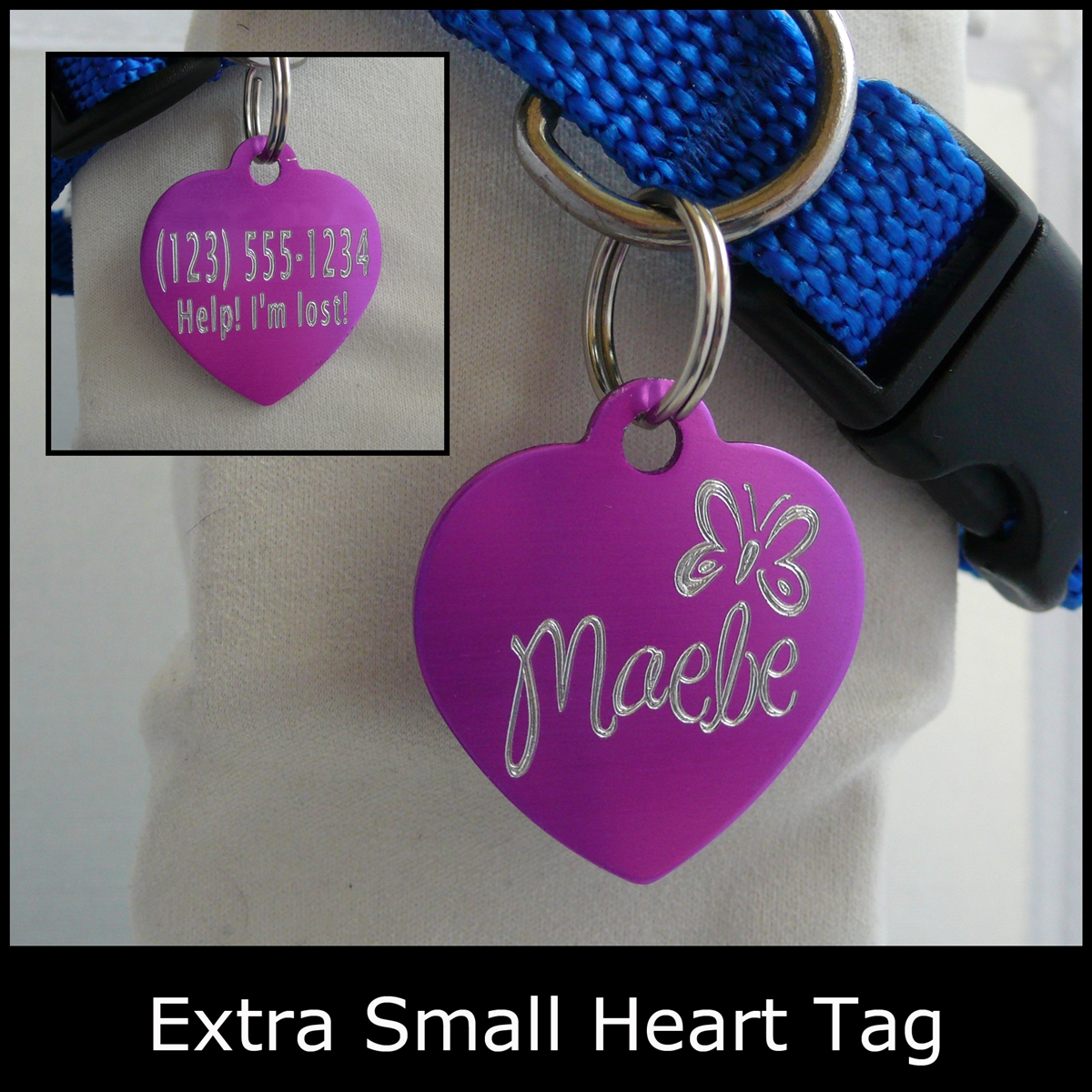 Engraved Anodized Aluminum, Extra Small Heart-Shaped Pet ID Tag-Quick Order