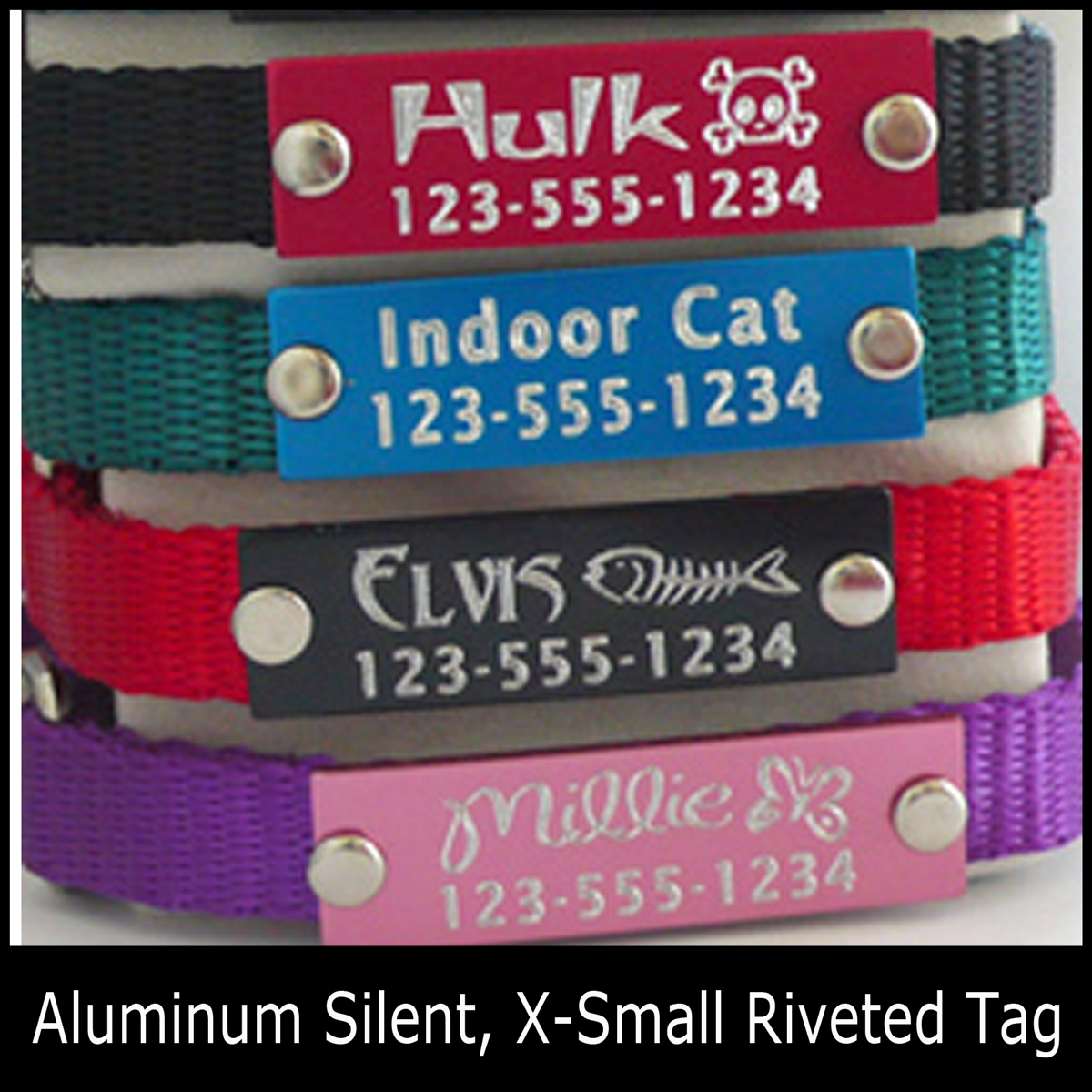 Anodized Aluminum Silent, Riveted Extra Small Pet ID Tag-Quick Order