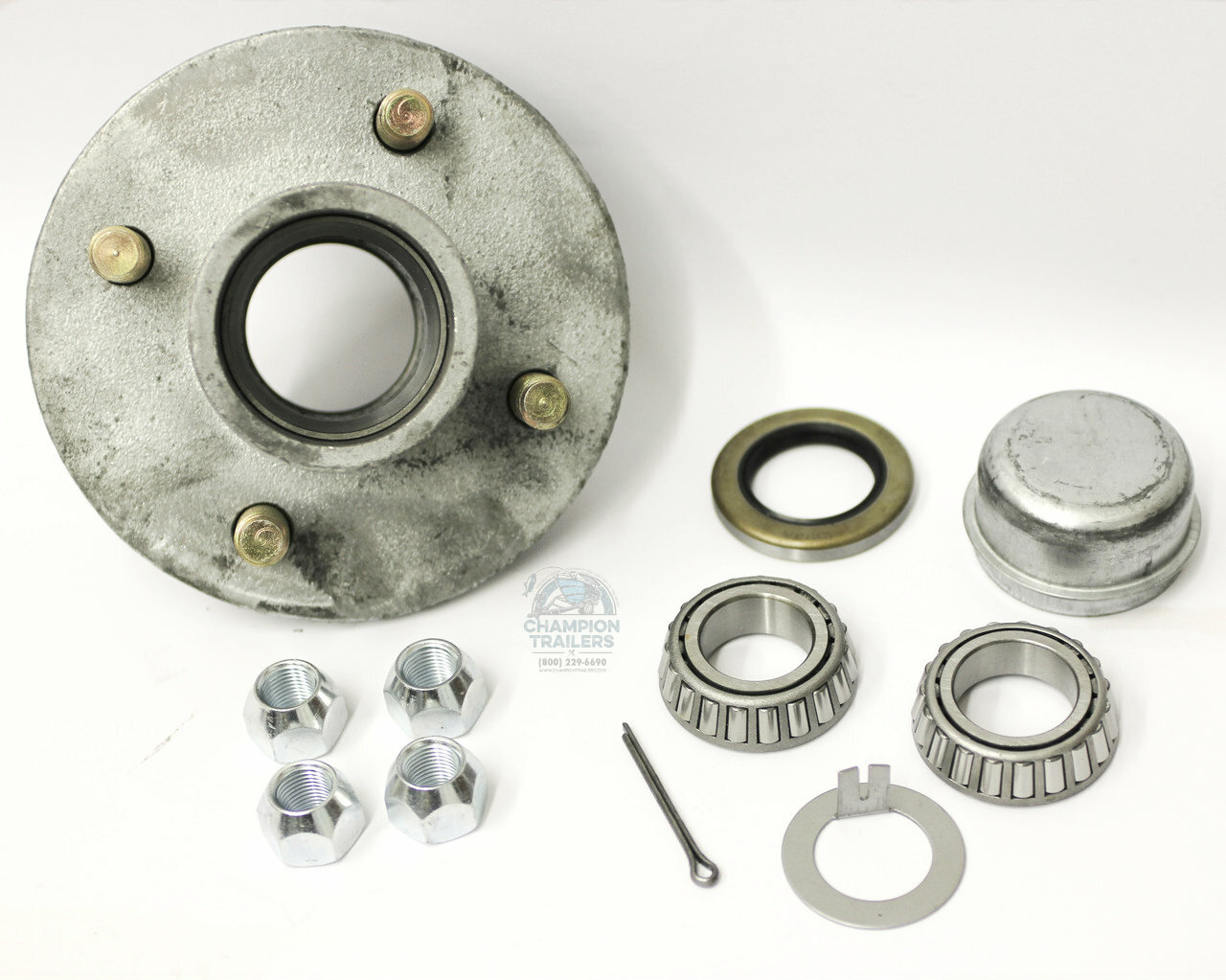 Galvanized Trailer Hub Assembly For 1 16 Spindle 4 Champion 2500 Winch Wiring Lug Idler 44649 S 125192