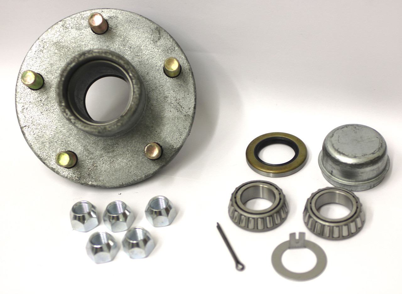 "Galvanized 5 Lug Trailer Hub Kit 1-1//16/"" x 1-1//16/"" PreGreased"