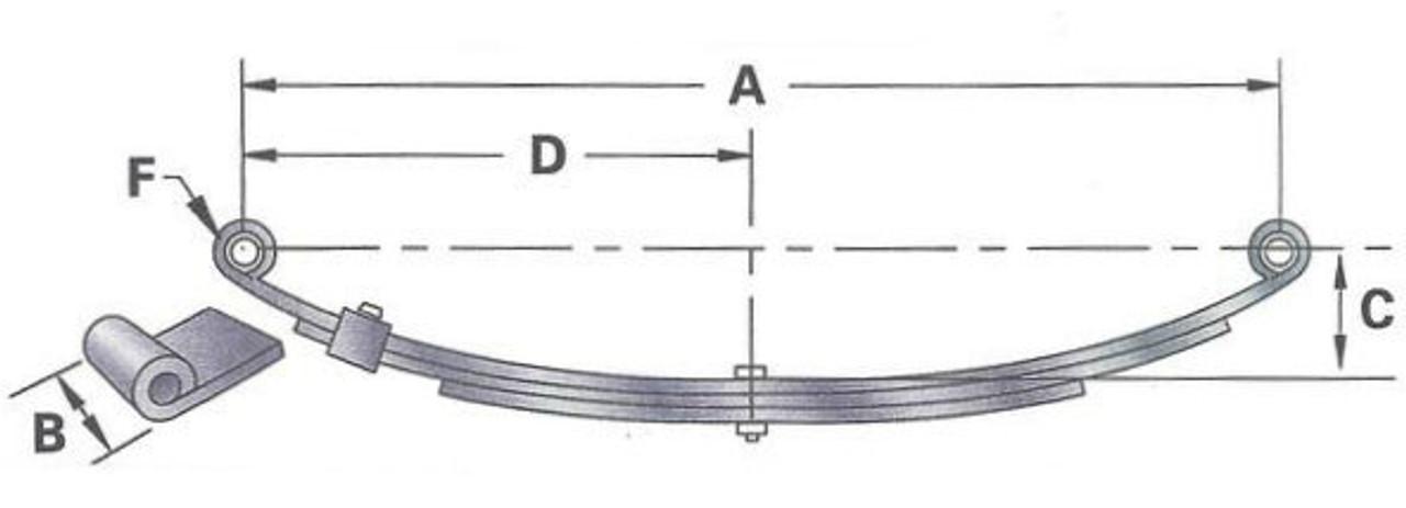 4-Leaf Single TRP Double Eye Spring 27 Inch X 1-3//4 Inch - 1,750 Lb Capacity