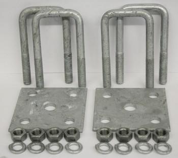"2x7"" Galvanized Square Axle U-Bolt Tie Plate Kit"