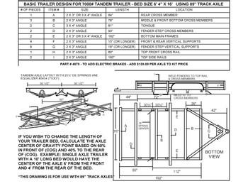 Tandem Utility Trailer Building Diagram