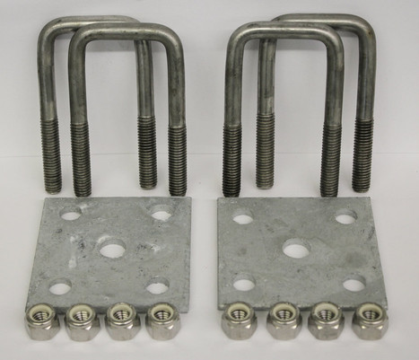 """2x5"""" Stainless Steel Square U-Bolt Tie Plate Kit"""