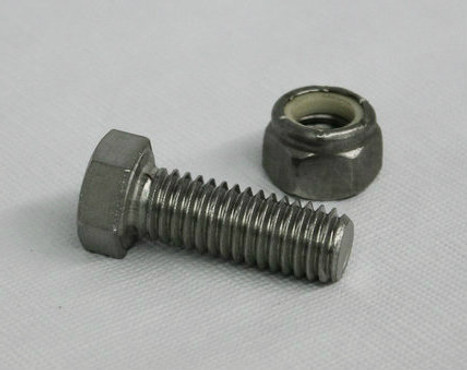 "1/4"" Stainless Steel Bolt with Locknut"