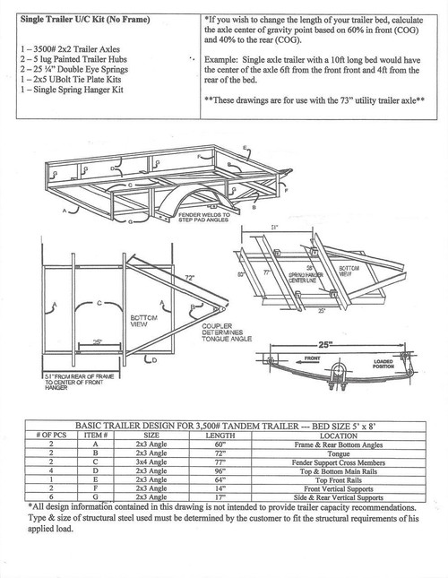 single axle undercarriage trailer kit diagram