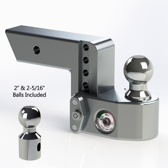 "Weigh Safe 2.5"" Adjustable Hitch with Max Drop at 4"""