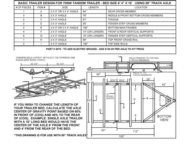 """Build Your Own Tandem Utility Trailer with a 73"""" Undercarriage Kit"""