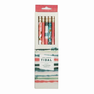 Tidal  Set of 8 Patterned Pencils by Lena Corwin (NEW & Boxed)