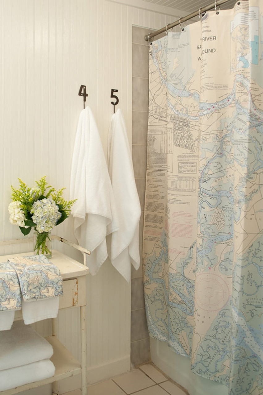 Shower Curtain With Your Custom Nautical Chart