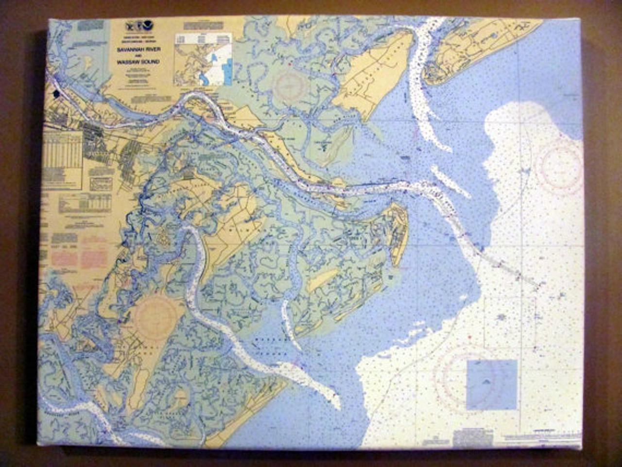 Custom Nautical Chart Wrapped Canvas - Large