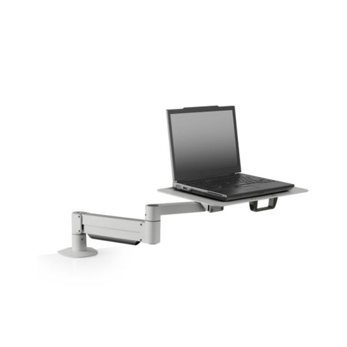 Made for oversized laptops, the heavy-duty 7011-8252 laptop stand weightlessly floats the notebook above the desk. Height adjustable articulating arm allows for easy positioning of the laptop tray.