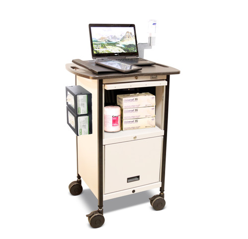 Mov-it Elite Chart Rack: Series III Computer Workstation with lockable supply storage