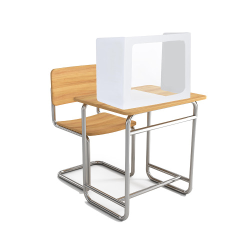 """White Coroplast Desk Partition with clear plastic window 18.5""""h - 3 sided w/ 22""""w center and 12.75""""w sides (20/pk)"""