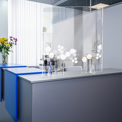 PSG3236-3 Standing Counter Sneeze Guard Partition Design #3