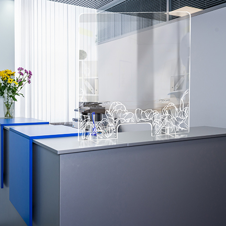 PSG3236-2 Standing Counter Sneeze Guard Partition Design #2