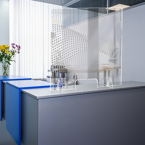 PSG3236-6 Standing Counter Sneeze Guard Partition Design #6