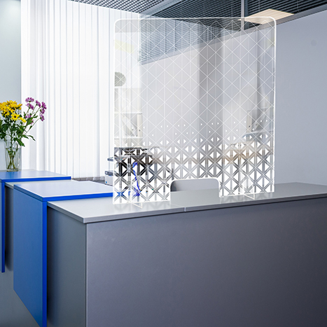 PSG3236-1 Standing Counter Sneeze Guard Partition Design #1