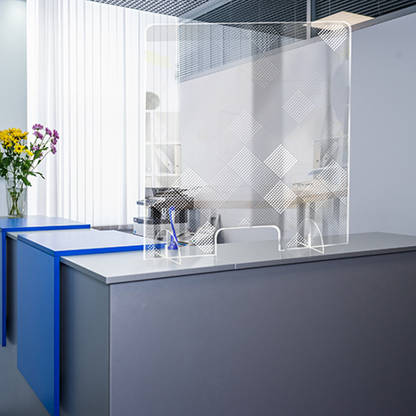 PSG3236-4 Standing Counter Sneeze Guard Partition Design #4
