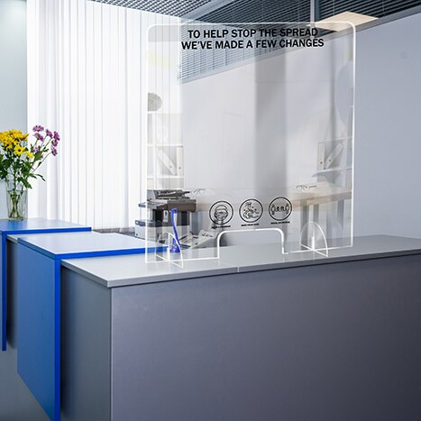 PSG1824-5 Standing Counter Sneeze Guard Partition Design #5