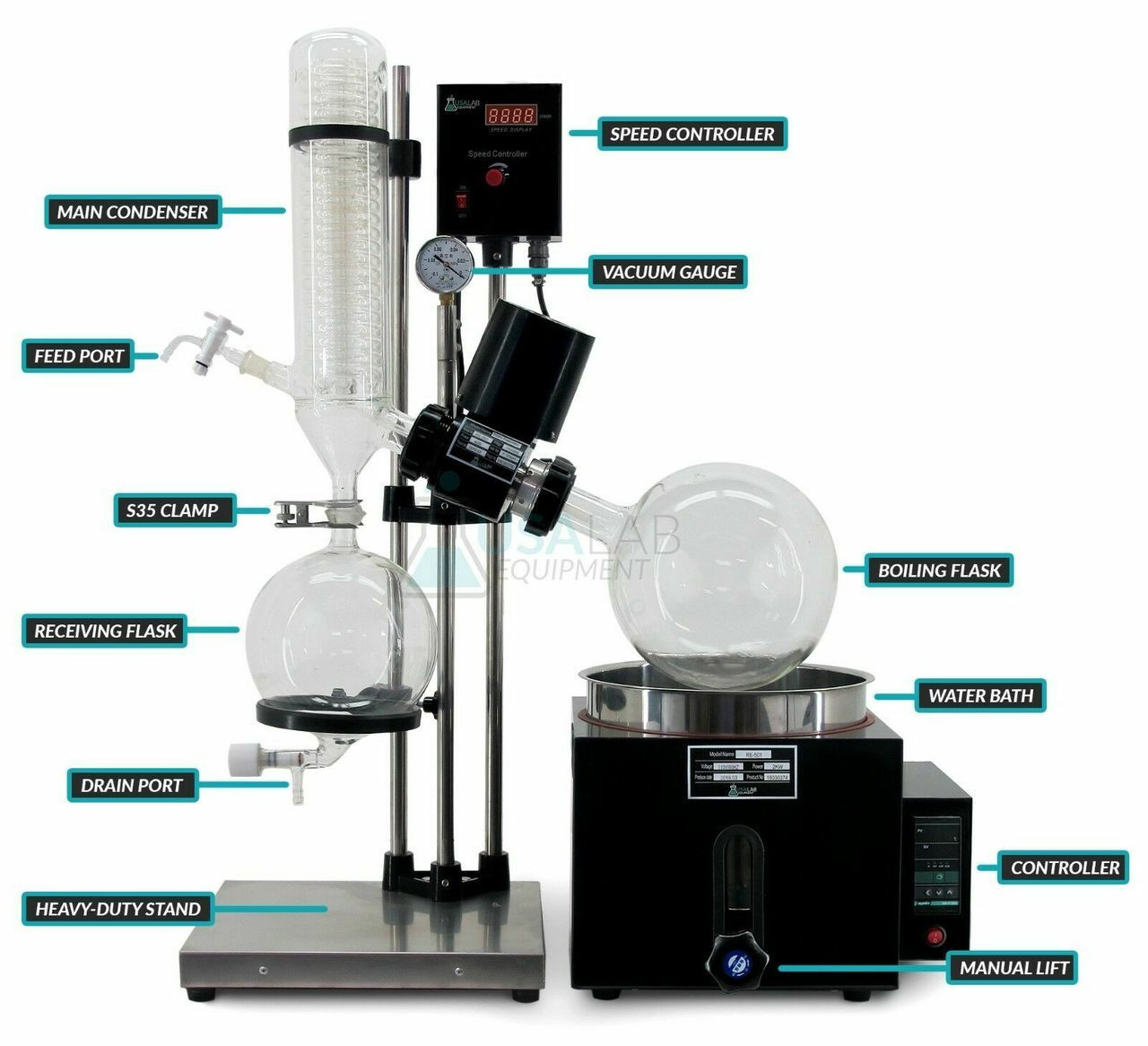 3L Round Bottom Receiving Flask for USA Lab RE-501 5L Rotary Evaporator