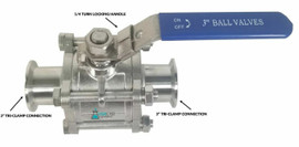 "3"" Tri-Clamp Ball Valve Sanitary Stainless 304 - 1000PSI"
