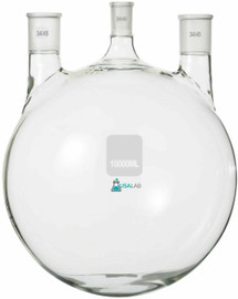 10L Round Bottom Boiling Flask - 3 neck 1 - 24/40 and 2 - 34/45