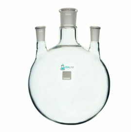 5L Round Bottom Receiving Flask - 3 neck 2 - 24/40 and 34/45 Center