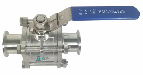 "1.5"" Tri-Clamp Ball Valve Sanitary Stainless 304 - 1000PSI"
