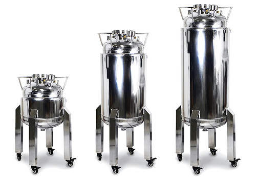 "USA Lab ASME Jacketed Solvent Tank w/ Sight Glasses, Casters & 1.5"" TC Drain - 50LB, 100LB, 200LB"