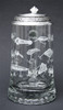 Traditional German Beer Stein Engraved with Fishing Lures